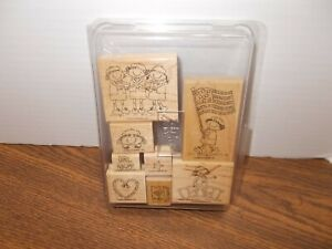 Stampin Up Girl Power Scouts Cookies Flag Wood Stamp Set of 8 Stamps 2002