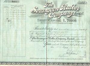 United Kingdom 1910 The Serangoon Rubber Company Ltd London, Certificate Over