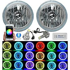 "7"" Bluetooth Phone RGB SMD Color Change Halo Angel Eye H4 6k LED Headlight Pair"