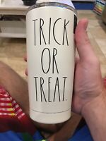 Rae Dunn Halloween 17oz Stainless Insulated Tumbler TRICK OR TREAT white w/blk