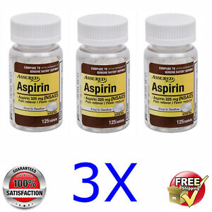 3x Assured @ ASPIRIN 325mg (NSAID) Easy to Swallow @ 3x 125 tablets/Total 375pcs