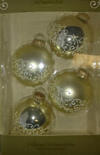 Sandra Lee Glass GILDED GATHERING Ornaments Set 4 Gold White Scrolls New in Box