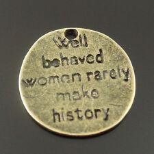 10pcs Antique Bronze Alloy Round About Women Tag Pendant Charm Clearance Sale