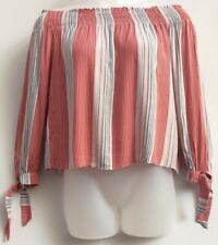 Nobodys Child Uk16 Eu44 Stripe Off  Shoulder Gypsy Peasant Top Casual Relaxed