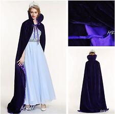 "Long 71"" Velvet Satin Cloak Cape High Collar Coat Wedding Pageant Party Purple"
