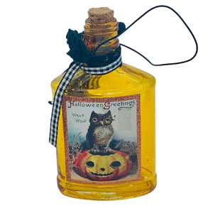 Halloween Decorative  Amber Glass Bottle with Cork