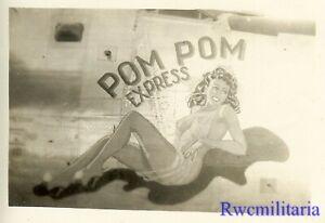 """Org. Nose Art Photo: B-24 Bomber """"POM POM EXPRESS""""!!!"""