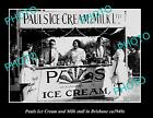 OLD LARGE HISTORIC PHOTO OF PAULS ICE CREAM & MILK STALL c1940s BRISBANE