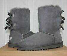 UGG Women's Bailey Bow Grey Suede  Size 8 style 1002954 New With Box!
