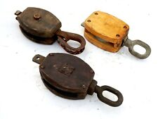 Lot of 3 pcs Vintage Maritime Large Wooden Pulley Barn Iron Hook Block Tackle