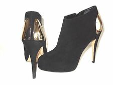 DV DOLCE VITA BLACK LEATHER HIDDEN PLATFORM ANKLE SHOES, BOOTS 10 HEEL-5 1/4""