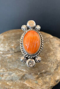 WoMens Native American Sterling Silver Orange Spiny Oyster Ring Set Sz 8 460