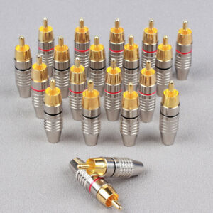 20 Pcs -YP12 RCA Male Plug Solder Free Gold Audio Video Adapter Connector