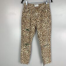 One Teaspoon Women's Super High Waisted Freebirds Leopard Print Jeans Sz 28
