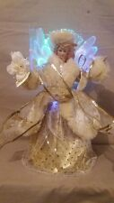32cm Fiber Optic Angel Christmas Tree Topper Gold/Cream - Battery Operated