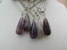 "1 x PURPLE AMETHYST TEAR-DROP STYLE PENDANT ON A 21"" SILVER CHAIN."