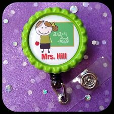 TEACHER GIFT PERSONALIZED Name Retractable Work ID Badge Holder Lanyard Clip Cap
