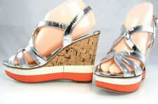 Auth $890 PRADA Metallic Leather Strappy Wedge Cork Sandals Womens Shoes 41 11