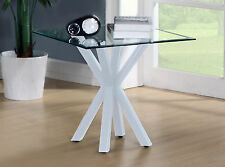 Lamp Side End Coffee Table Clear Glass Square Top Display Stand with White Base