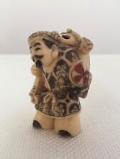 Old Chinese Lucky God Buddha Resin NETSUKE Figure ~ Signed