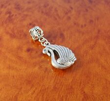 Swan bird charm slider bead for silver European bracelet or necklace