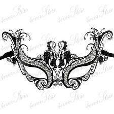 "Women Filigree ""Angel""  Venetian Masquerade Mardi Gras Mask [Black]"