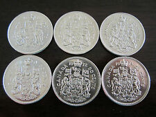 CANADA 1968 69 70 71 72 73 COINS JUBILEE 1/2 DOLLAR 50 CENT NICKEL COAT OF ARMS
