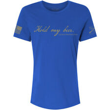 Grunt Style Women's Relaxed Fit Hold My Beer T- Shirt - Royal