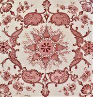 Antique English Transfer Tile Symmetrical Red Flower Pattern 15.5 x 15.5cm