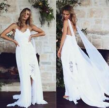 Greek Style Boho Beach Lace Wedding Dress Bridal Gown Formal Dress Open Back