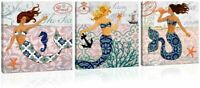 "3 Pieces Mermaid Canvas Wall Art Ready to Hang Wall Decor, 12"" x 12"""
