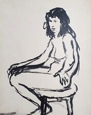 Antique expressionist nude woman portrait ink painting