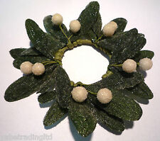 FROSTED MISTLETOE CANDLE RING TABLE DECORATION CHRISTMAS 15 CM BRAND NEW