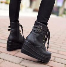 Womens Gothic Buckle Lace Up Ankle Boots Platform Wedge Shoes Punk Creepers da41