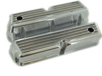 1962-1985 SBF 289 302 351W Tall Finned Valve Covers Polished Aluminum