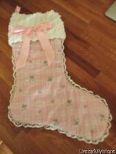 Shabby Cottage Chic! ~ NEW! Hand-Made PINK ROSES & CHENILLE Christmas Stocking