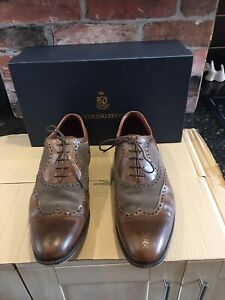 Cheaney for Herring Mens Shoes UK 11 Stunning Leather & Suede Chestnut Brogues
