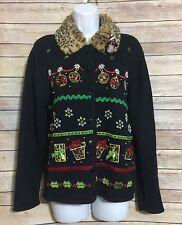 Crystal Kobe Ugly Christmas Sweater Cardigan Light Up Penguin Animal Print Sz Sm
