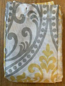 Mainstay Fabric Shower Curtain Yellow Gray Paisley New
