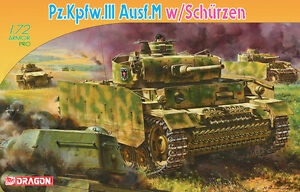 Dragon 7323 1/72 Plastic WWII German Pz.III, Ausf.M w Schurzen