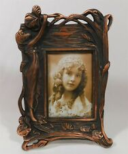 Art Nouveau Woman Sprite Floral Copper Tone Photo Frame 7.5 x 10.5