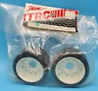 "Vintage TRC 1051 White BBS Mounted Rear Tires 1 1/2""1/10 RC Pan Car Part Green"