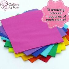 "40 x 5"" Bright Rainbow PreCut Fabric Charm Squares, 5 inch, 10 Colours, Cotton"