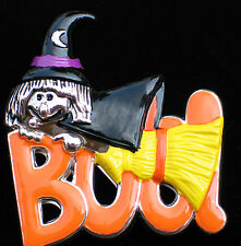 SIGNED BEST FUN HALLOWEEN FRIENDLY WITCH HAT BROOM BOO PIN BROOCH PENDANT 2""