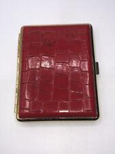 Vintage Women's Deep Red Vinyl Beautiful Cigarette Metal Case Snaps Shut