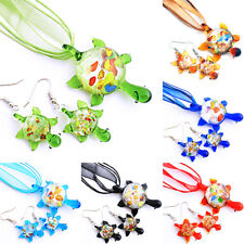 Silver Foiled Turtle Lampwork Murano Glass Bead Pendant Earrings Necklace Set