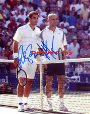 Pete Sampras Andre Agassi Signed 2002 US Open Autographed photo Reprint