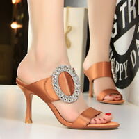 Women Sandals Glitter Slingback Crystal Stiletto High Heels Party Slippers Shoes