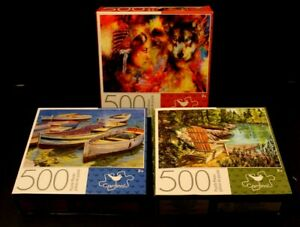 Lot of 3 NEW Sealed 500 Piece Boats/Indian Woman With Wolf/Lake Scene Puzzles