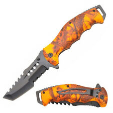 "8"" Orange Camo Handle Tactical Tanto Spring Assisted Folding Knife"